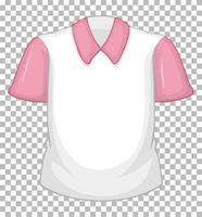chemise blanche vierge à manches courtes rose sur transparent
