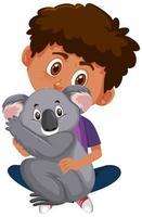 garçon tenant un personnage de dessin animé animal mignon isolé sur fond blanc