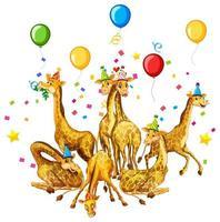 Groupe de girafes en personnage de dessin animé de thème de fête sur fond blanc