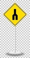 panneau d'avertissement de trafic jaune sur fond transparent