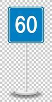 Panneau de signalisation de limite de vitesse minimale bleue 60 avec support isolé sur fond transparent