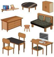 Objets de meubles de salon isolés sur fond blanc