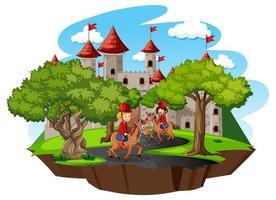 Scène de conte de fées avec château et soldat garde royale sur fond blanc