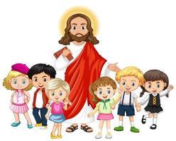 Jésus avec un personnage de dessin animé de groupe d'enfants vecteur