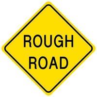 Panneau jaune de route rugueuse sur fond blanc