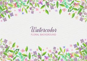 Aquarelle Fond de vecteur gratuit avec main dessine des fleurs