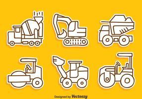 Croquis vecteur de collection de machines de construction