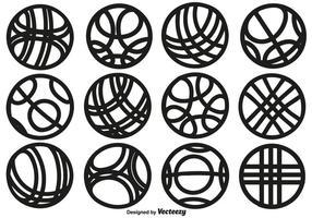 Collection de vecteur d'icônes de balle de style Bocce