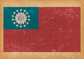 Drapeau grunge du Myanmar Birmanie vecteur