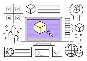 Éléments vectoriels d'installation de logiciels linéaires vecteur