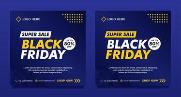 modèles de bannière de médias sociaux vente vendredi noir bleu vecteur