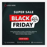 modèle de médias sociaux de vente vendredi noir, blanc, rouge vecteur