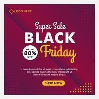 modèle de bannière de médias sociaux vente vendredi noir dégradé violet vecteur
