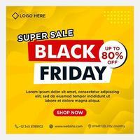 bannières d'événement de médias sociaux vendredi noir dégradé jaune