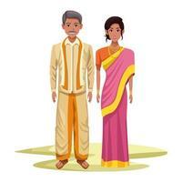 personnages de dessins animés de couple indien