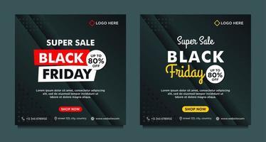 modèles de médias sociaux de vente vendredi noir noir, jaune, rouge vecteur