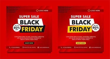 modèles de bannière de médias sociaux de vente vendredi noir dégradé rouge vecteur