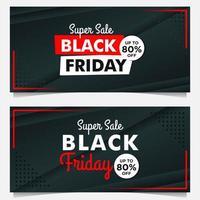 modèles de bannière de vente vendredi noir en noir et rouge vecteur