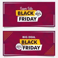 modèles de bannière de vente vendredi noir dans un style dégradé violet vecteur