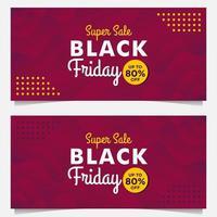 modèles de bannière de vente vendredi noir avec style dégradé violet vecteur