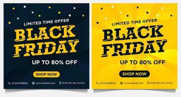 bannières d & # 39; événement carré vendredi noir en noir et jaune vecteur