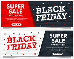 bannières d'événement vendredi noir en rouge, noir et blanc