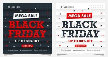 bannières d & # 39; événement carré vendredi noir en noir, blanc et rouge