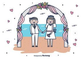 Vecteur de mariage de plage