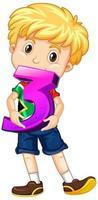 garçon blond tenant math numéro trois
