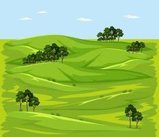 scène de paysage nature prairie verte vierge vecteur