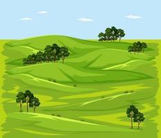scène de paysage nature prairie verte vierge