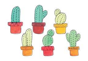 Ensemble de cactus à main dessiné à main vecteur