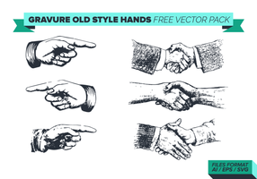 Gravure old style hand free vector pack