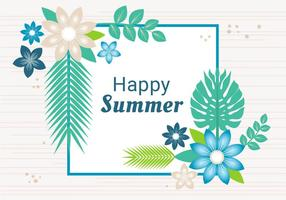 Carte de voeux heureuse d'été de conception gratuite vecteur