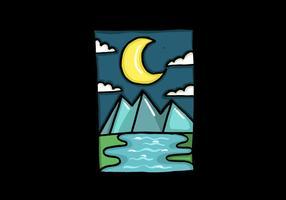 Paysage de montagne de lune croissante vecteur