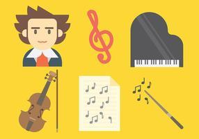 Icônes vectorielles de Beethoven vecteur