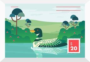 Illustration de vecteur de timbre du lac Loon Bird On Lake