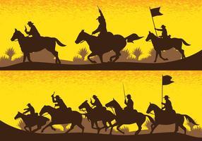 Silhouettes de champ de bataille de cavalerie vecteur