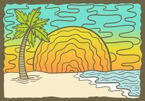 Beach Sunset Palm Tree vecteur