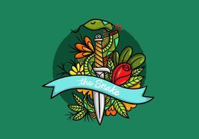 Couteau de serpent Art de style de tatouage vecteur