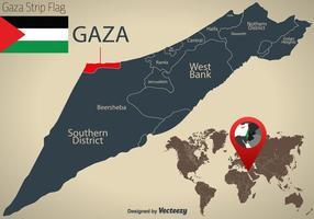 Carte du vecteur israélien et zone de la bande de Gaza