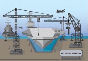 Illustration de chantier naval militaire vecteur