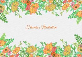 Cadre floral d'aquarelle vectoriel gratuit