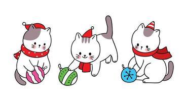 chats de noël dessinés à la main jouant avec des ornements vecteur