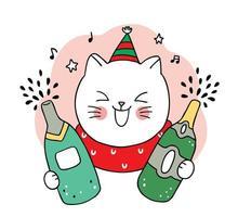 chat de noël dessiné à la main et bouteilles de champagne