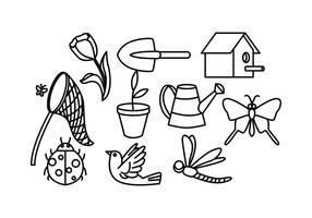 Ligne de jardin gratuite icône vecteur