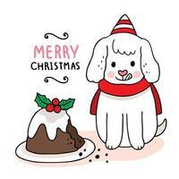 chien de noël dessiné à la main mangeant un gâteau