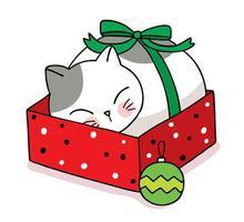 chat dessiné à la main dormant dans une boîte cadeau de noël