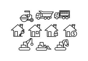 Vecteur gratuit de l'icône de la ligne de construction et de la maison