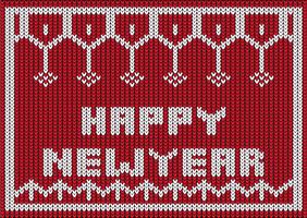 conception tricotée bonne année vecteur